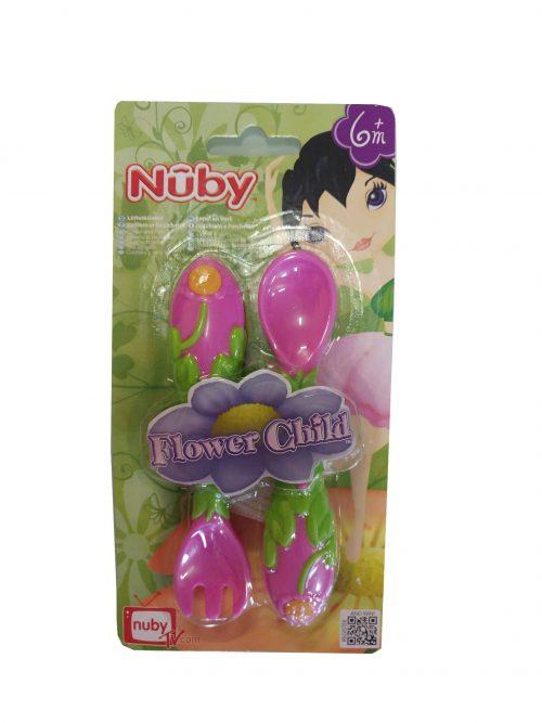 Nuby Flower Child műanyag evőeszköz szett (kanál+villa) 6 hónapos kor